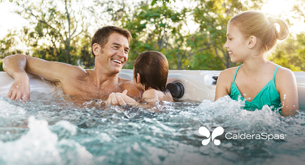 a family relaxes in the best hot tub massage jet experience