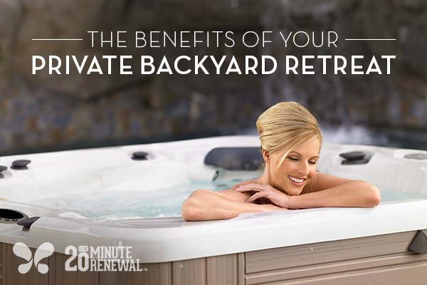 A woman soaks in her hot tub contemplating the perfect backyard design
