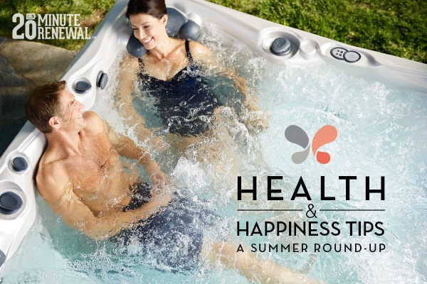couple in a hot tub discuss summer health and happiness tips
